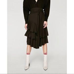 Zara Skirts - Zara Poplin Black Cascading Ruffle Tie Skirt